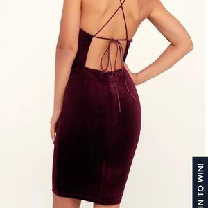 Karmin Burgundy Velvet Lace-Up Bodycon Dress